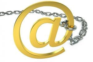 Email @ symbol with a locked chain